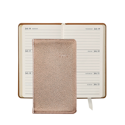 "Graphic Image 2019 5"" Pocket Datebook Rose Gold Metallic Leather"