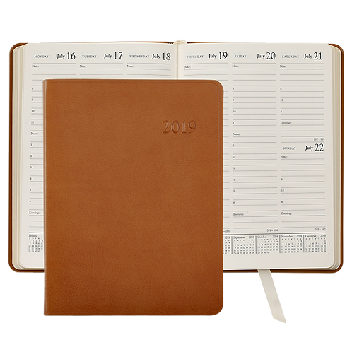 2019 Graphic Image Desk Diary British Tan Traditional Leather