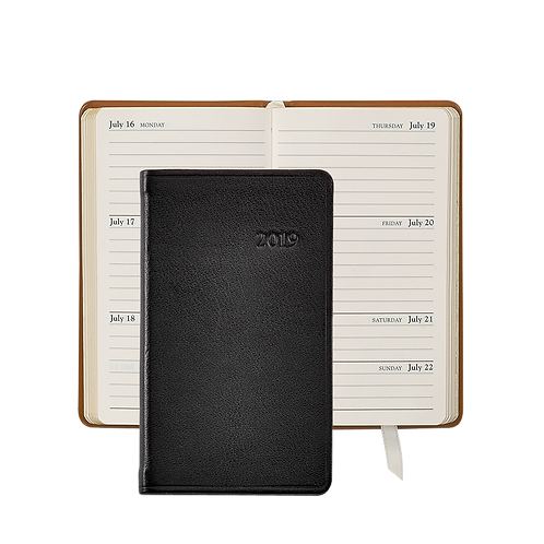 """Graphic Image 2019 5"""" Pocket Datebook Black Traditional Leather"""