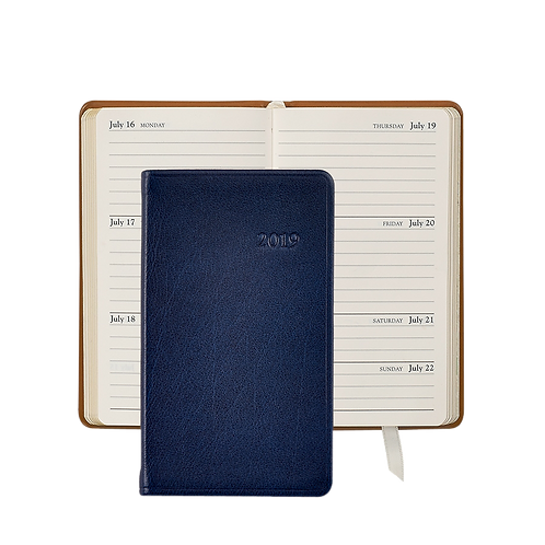 """Graphic Image 2019 5"""" Pocket Datebook Blue Traditional Leather"""