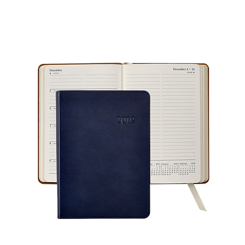 2019 Graphic Image Weekly Notebook Blue Traditional Leather