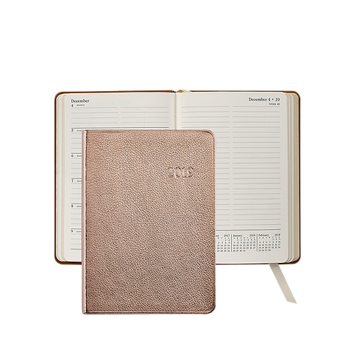 2019 Graphic Image Weekly Notebook Rose Gold Metallic Leather