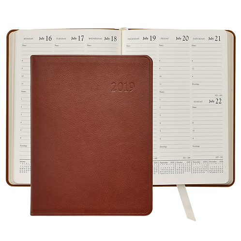 2019 Graphic Image Desk Diary Brown Traditional Leather