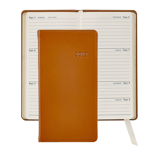 "2019 Graphic Image 6"" Pocket Datebook British Tan Traditional Leather"