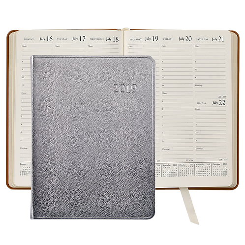 2019 Graphic Image Desk Diary Silver Metallic Leather