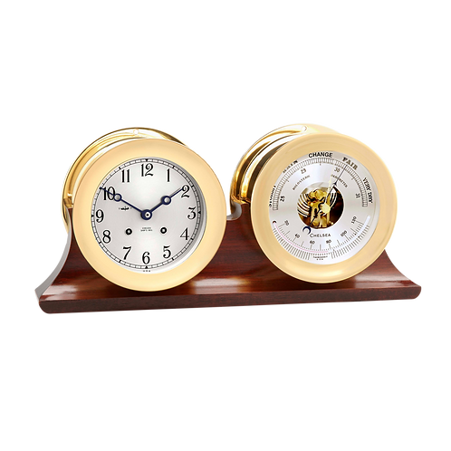 "4 1/2"" Ship's Bell Clock And Barometer Brass Traditional Double Base"
