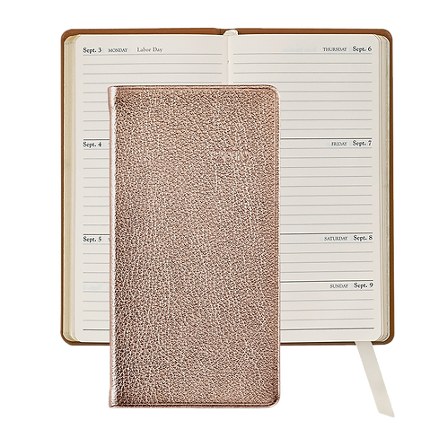 "2019 Graphic Image 6"" Pocket Datebook Rose Gold Metallic Leather"