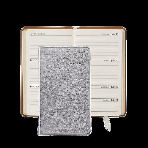 "Graphic Image 2019 5"" Pocket Datebook Silver Metallic Leather"