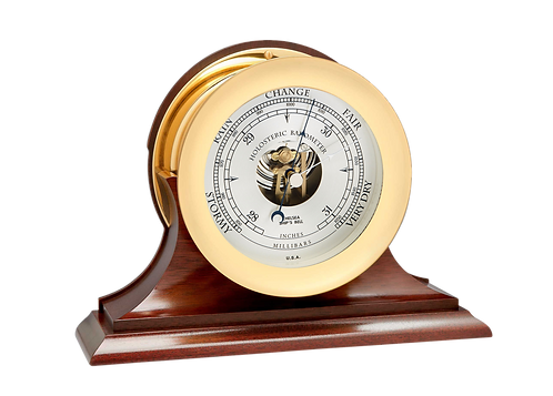 "4 1/2"" Ship's Bell Barometer Traditional Base"