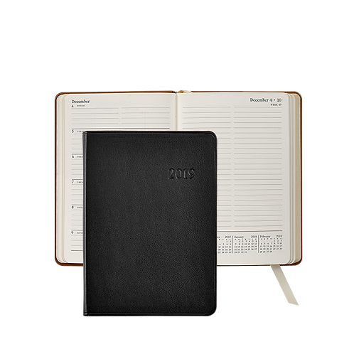 2019 Graphic Image Weekly Notebook Black Traditional Leather