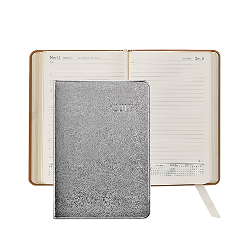 2019 Graphic Image Daily Journal Silver Metallic Leather