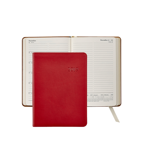 2019 Graphic Image Weekly Notebook Red Traditional Leather