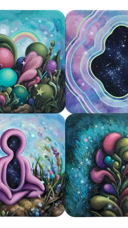 """Acrylic & sparkles on coasters. (4) 4x4"""""""