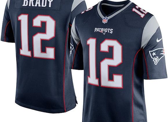 New England Patriots Tom Brady Navy Blue/Silver Game Jersey