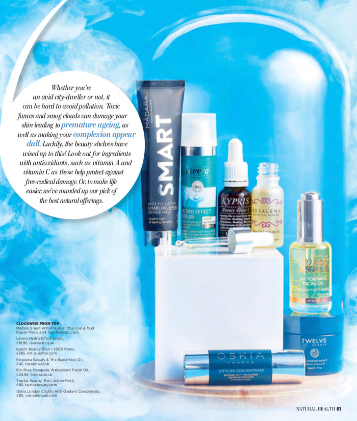 Natural Health Magazine, anti-pollution skincare