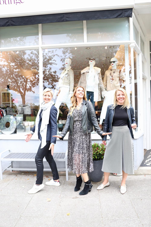 Helen Bell, Helena Chapman & Maja Griffith outside Oliver's Lounge on Bellevue Road