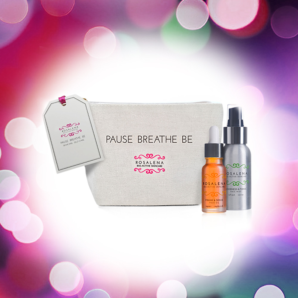 Frank & Sense Face Oil, Goodness & Tonic Face Mist in a makeup bag