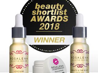 Rosalena scoops 3 Awards at the 2018 Beauty ShortList Awards
