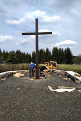 Obnova základů přesunutého kostela Fláje