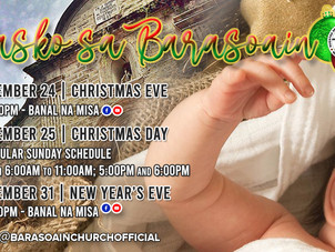 Masses for Christmas and New Year's Days Schedule