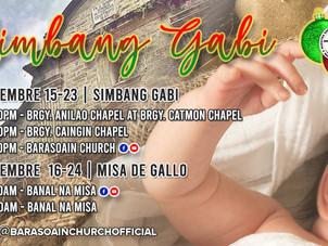 Schedule of Simbang Gabi and Misa de Gallo