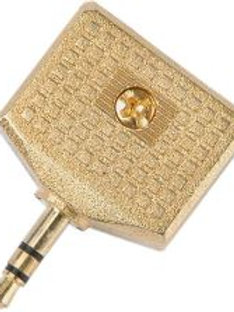 759.564 | Adaptor | Gold 3.5mm Stereo Jack Plug to 2 x 3.5mm Stereo Sockets