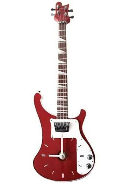 262168Y | Gift | Wall Clock | Bass Guitar Red