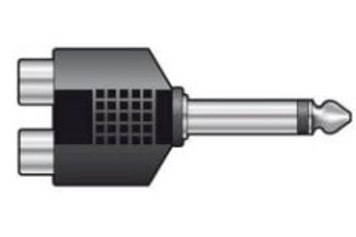 757.62 | Adaptor | 6.3mm Mono/Stereo Jack Plug to 2 x RCA Phono Sockets