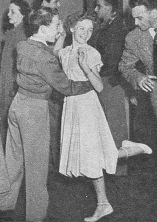 Caption: 'Don't get frisky, full of jive and aerobatics, like a child, in the crowded lobby. Kicks and bumpings make folks justly wild!'