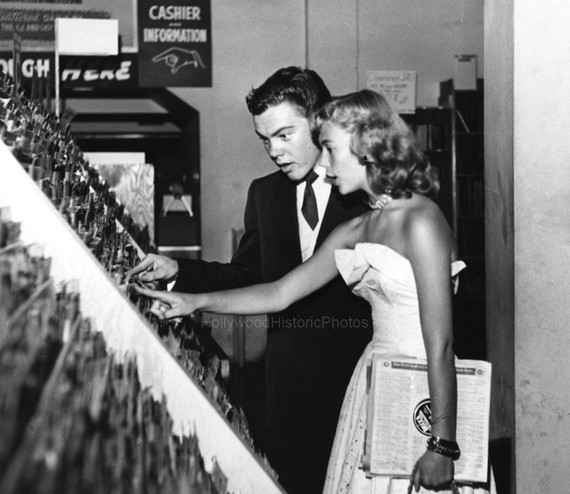 Bobby Driscoll with Natalie Wood at Wallich's Music City