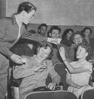 Caption: 'Don't take water from the fountain to your seats. There's reason for such a rule, as you will find when on someone a cup you pour!'