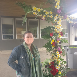 Pastor Rebecca Patterson and the 2021 Easter Flower Cross