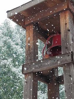 DUMC Bell Tower in recent snow