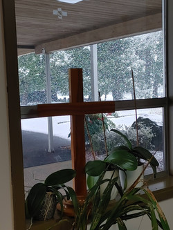 Looking outside from the Pastor's Study