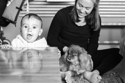 Baby and mom and dog