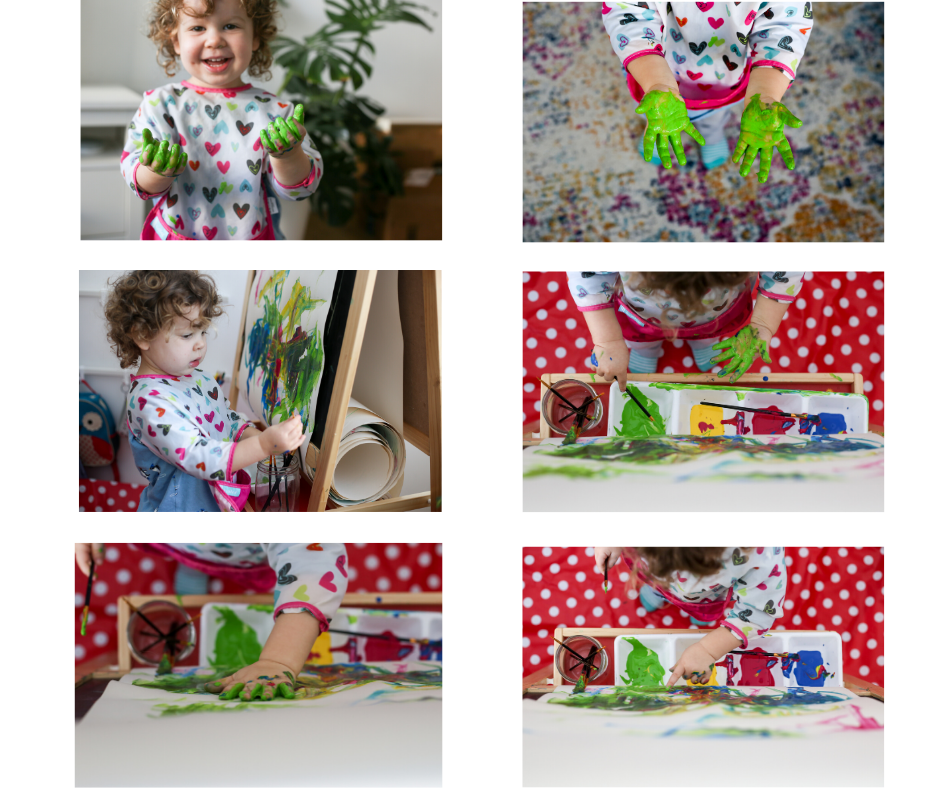 a collage of photos of a child painting