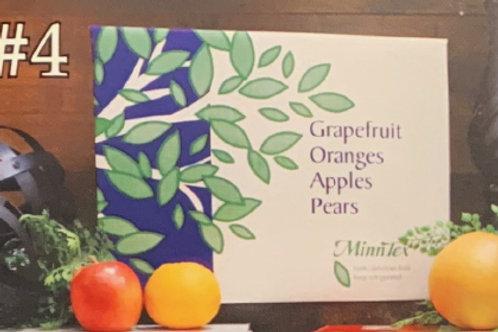 4 - 6 Grapefruit/12 Oranges/8 Braeburn/6 Pears