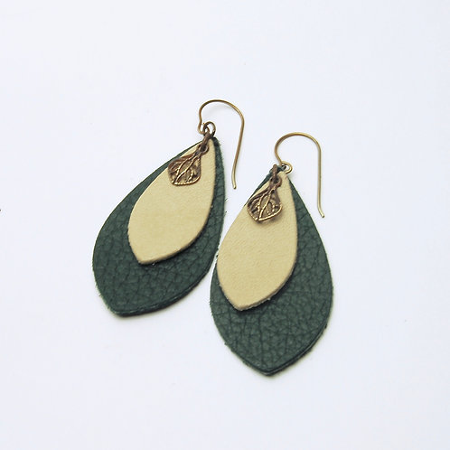 Forest & Tan Leather Charm Earring
