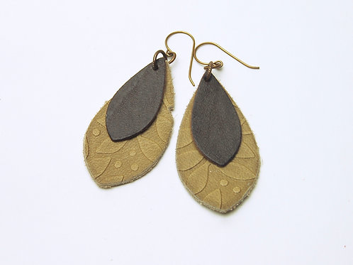 Tan & Chocolate Embossed Leather Earring