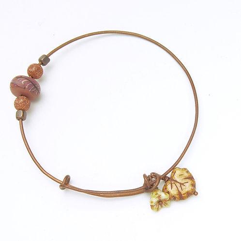 Copper Leaf and Flower Bangle