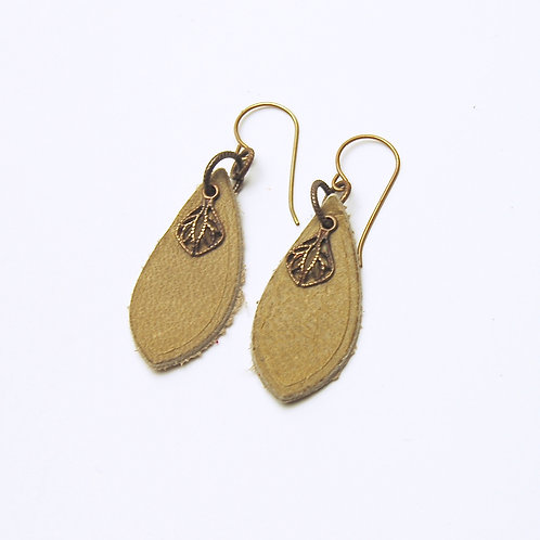 Tan Charm Leather Earring