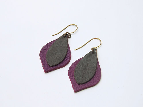 Pink Chocolate Leather Earring