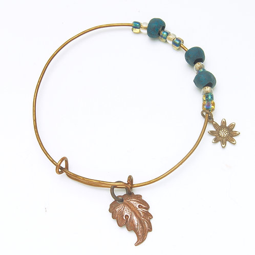 Copper Leaf and Clay Bangle