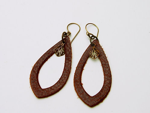 Wine Cutout Leather Earring