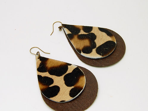 Animal Print Leather Earrings