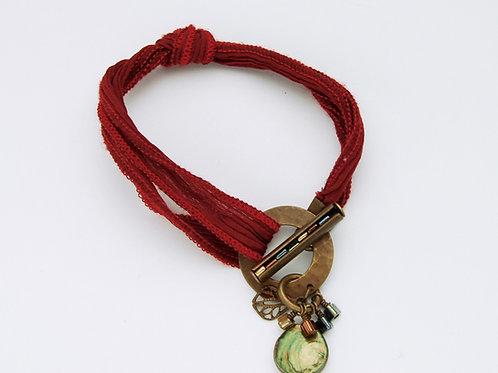 Boho Red Raw Silk Ribbon Bracelet