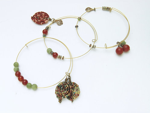 French Beaded Leaves Bangles