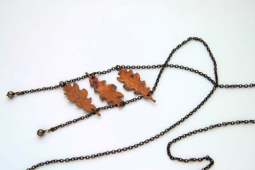 Falling Oak Leaves Necklace
