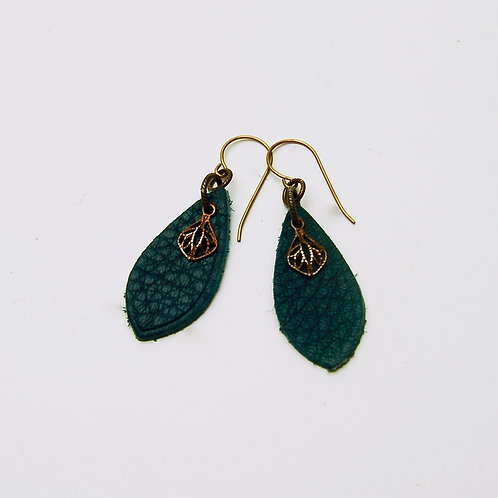 Navy Charm Leather Earring