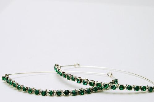 Emerald Crystal Hoops